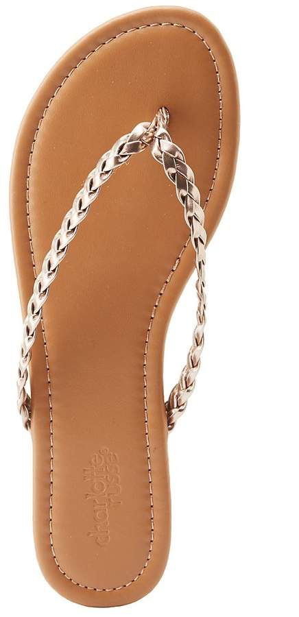 bf653547f2fb Charlotte Russe Metallic Braided Flip Flop Sandals