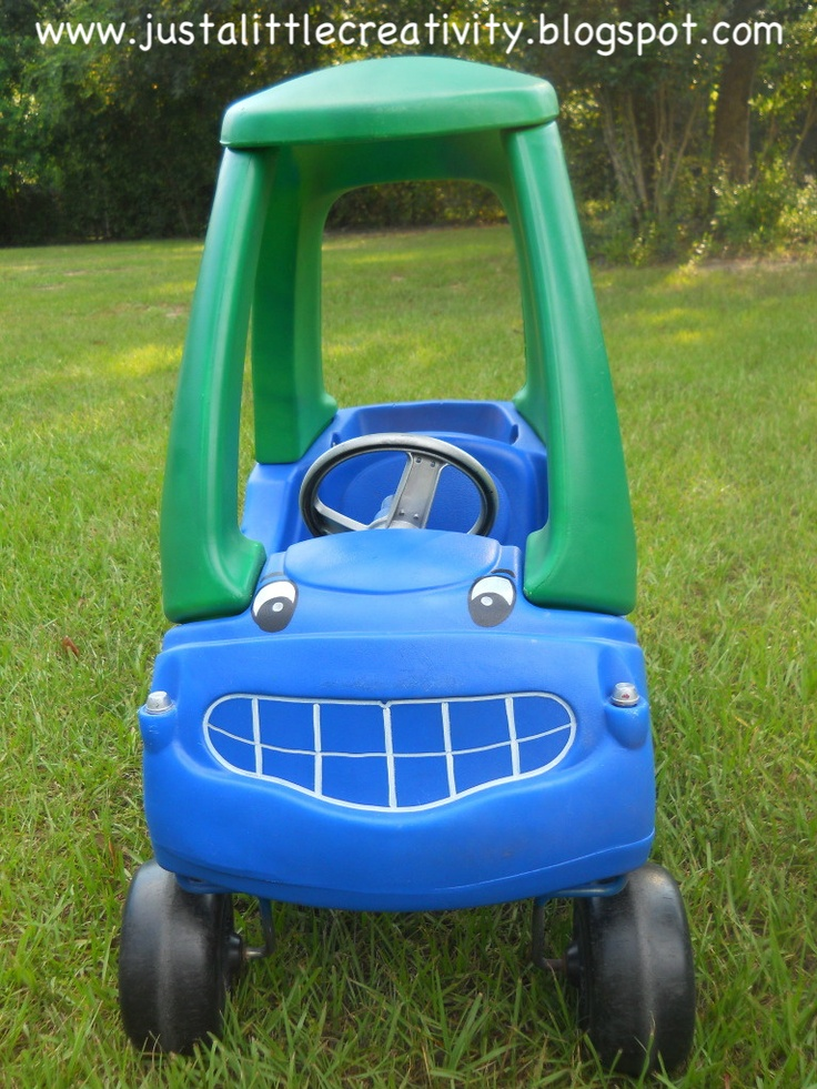 Little Tikes Car Makeover.  Click the pic to see a before and after pic. Good idea for a garage sale steal!