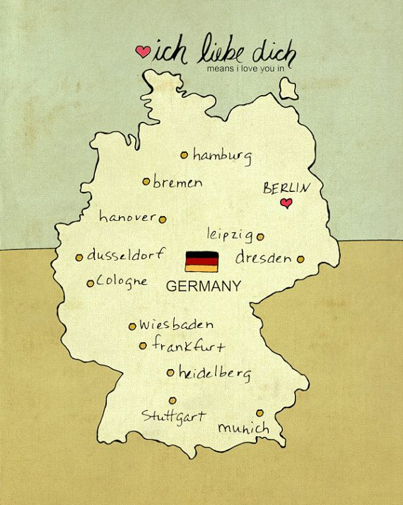 I Love You in Germany // German Map, Giclee, Modern Baby Nursery Decor, European Travel Theme, Digital Print, Oktoberfest, Deutschland