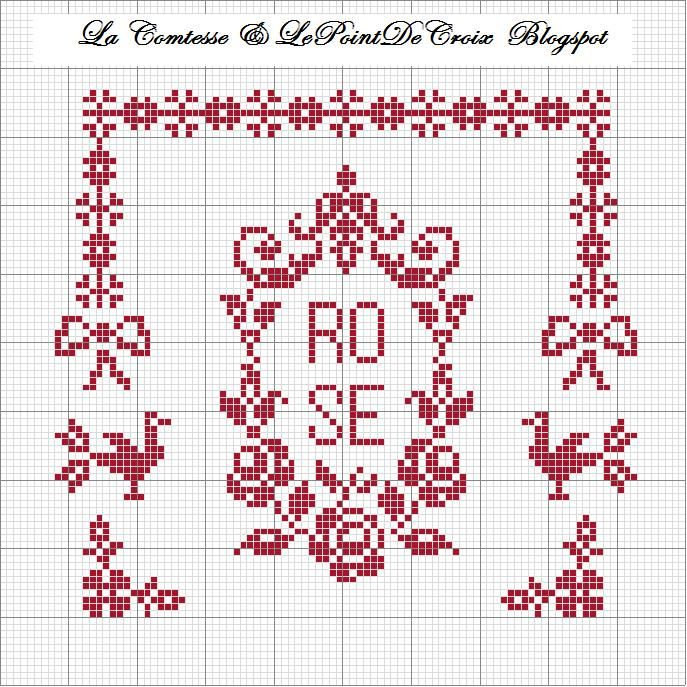Lacomtesse y lepointdecroix: patrones libres border bow monogram wreath cross stitch