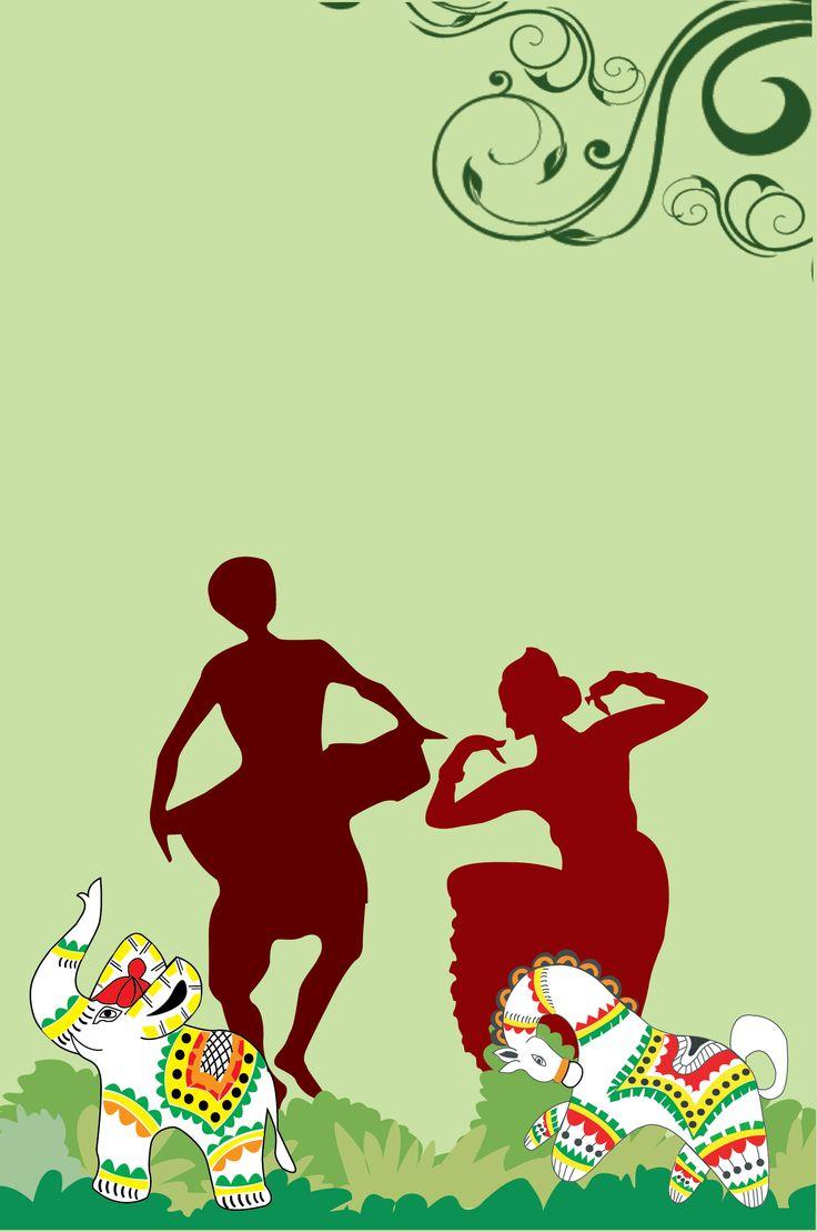 Bangla New year festival.Dancing man & woman. & Bangla folk motives horse & elephant