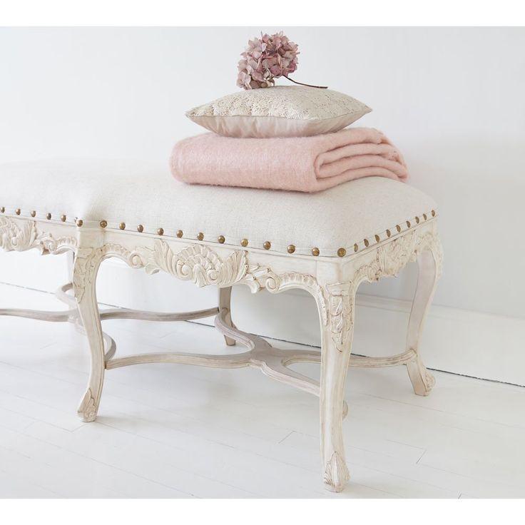 Vignette White Wash Long Stool | Bedroom Bench. French Bedroom Bench.