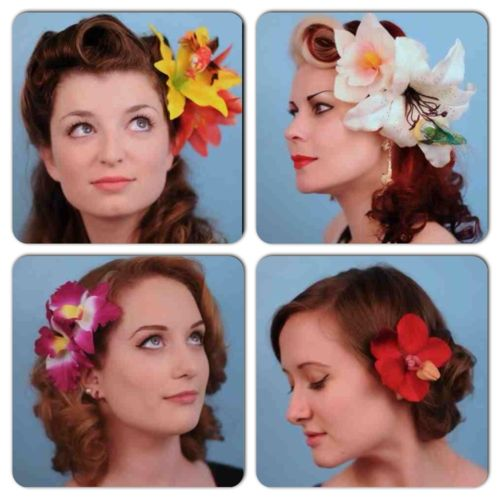 sarahsdoowopdos:    Tropical flowers by Lil Mischief  Rockabilly hairstyling by Sarah's Doo-Wop Dos
