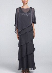 This gorgeous caplet chiffon dress is so unique and gorgeous you will be sure to stand out at any special occasion!   Sleeveless bodice features sparkling and eye-catching sequin and beaded bodice.  Long multi-tiered skirt adds dimension and movement.  Chic removable caplet with beaded shoulders adds just the right amount of coverage.  Fully lined. Back zip. Imported polyester. Professional spot clean.  Please Note: Sale pricing varies according to color, please clickcolor and ...
