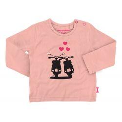 T-shirt met lange mouwen en ronde hals vespaprint S. Pink Stones and Bones #monkeyandbutterfly.be