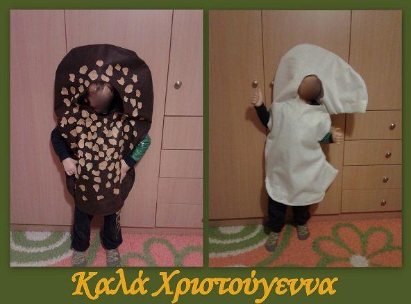 Handmade christmas costumes made from felt.