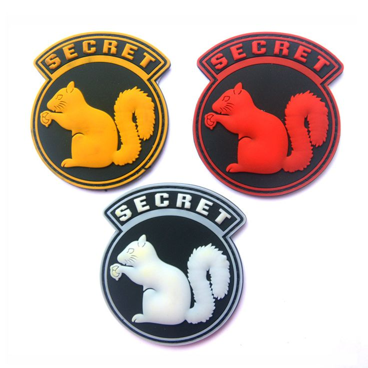 black top secret squirrel OP rubber 3D PVC tactical military morale Badge Patches 6.7*8CM #Affiliate