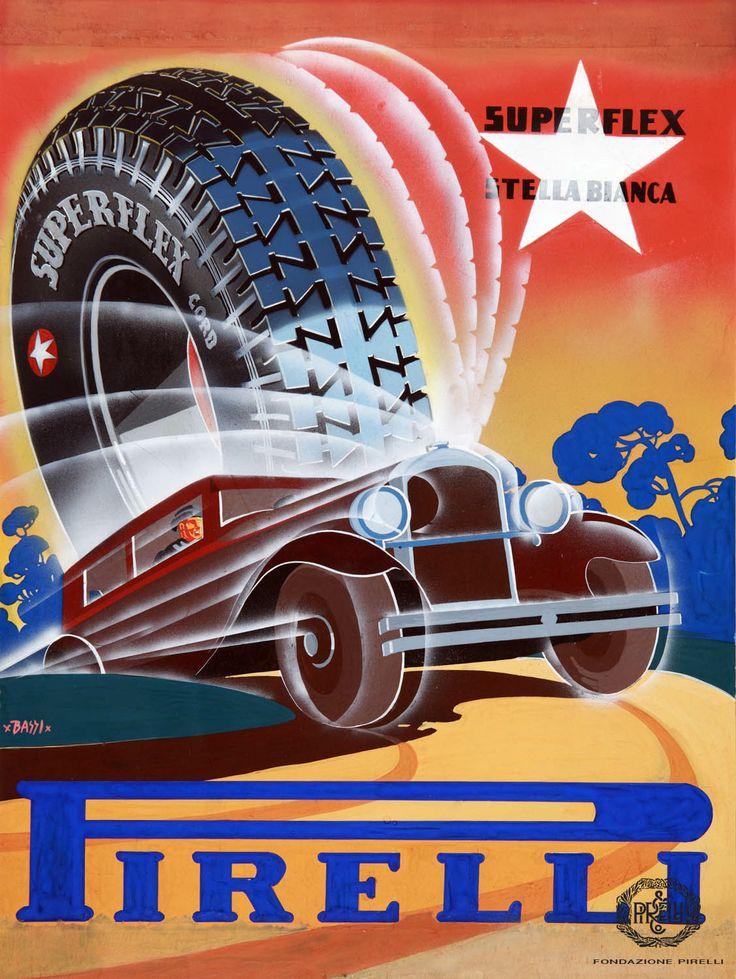 "Renzo Bassi, advertisement for Pirelli ""Superflex Stella Bianca"" tyres, 1930 http://www.fondazionepirelli.org"