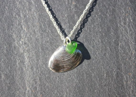 Silver shell necklace with beach glass/sea glass by MeltSilver
