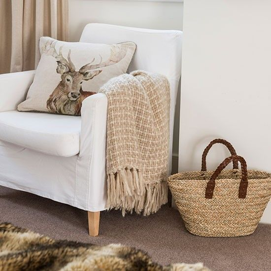 Neutral living room with stag cushion | Living room decorating | Style at Home | Housetohome.co.uk