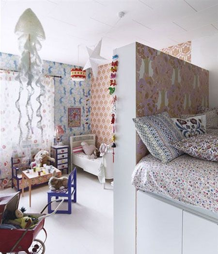 Shared room for children. Divider. Privacy. Mixed patterns on bedding & walls. White trim, windows for light. Storage under bed.: Shared Room, Idea, Kids Bedroom, Wallpaper, Kidsroom, Bedrooms, Kids Rooms