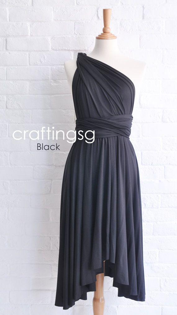 Bridesmaid Dress Infinity Dress Black Knee Length by craftingsg, $35.00