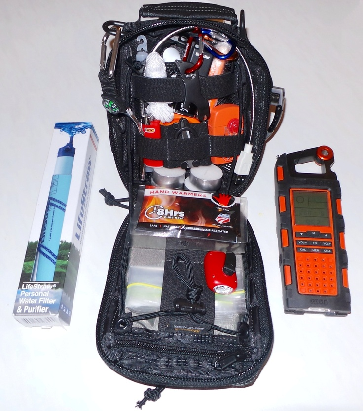 MaxpeditionFR-1 Bic, BlockLite,Foldable Scissors,- 3x Carabiners - Gerber Shard - 3ft Paracord - Glowstick - Sea to Summit collapsible X-Shot cup - Eton Raptor - USB mini light & fan - Paracord wristband w/ whistle - Coghlans micro dynamo torch - Compact first aid kit - Signal mirror - 4x lithium batteries in battery cas2x mini pill boxes w/ medication  230 lumen Jetfire mini torch Gerber Crucial multi-toolLittle Hotties hand warmersLifestraw microfilterZiploc bag
