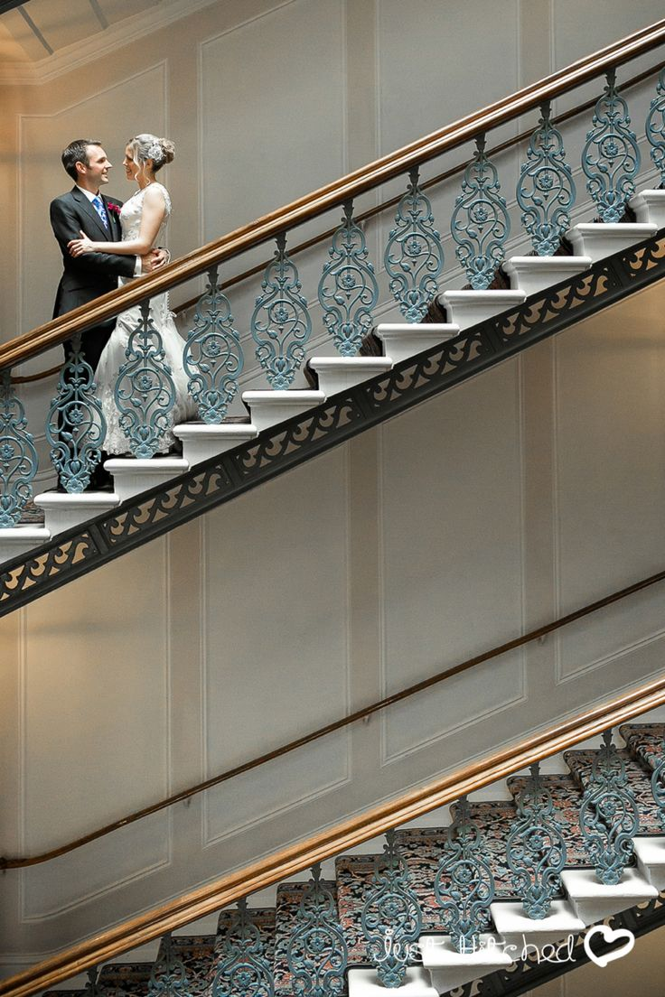 The Grand Hotel Brighton and the Gorgeous Emily and Joe on the Staircase at The Grand Hotel Brighton a Devere Hotel