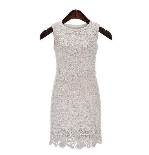 S 5XL Summer Sleeveless Crochet Dress Embroidery Lace Sundress