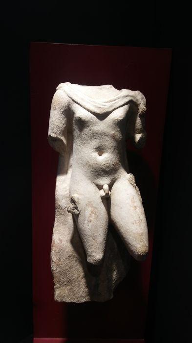 """Romeinse marmer mannelijke Torso - 2400 x 1000 cm  Een klein Romeins marmeren torso van een jonge man die het dragen van een mantel. Het hoofd de onderarmen en het onderste gedeelte van de benen ontbreken. De figuur verschijnt naakt tonen zijn geslacht met een pose """"Contrapost"""" met het gewicht van het lichaam die omvallen van het recht verlaten de linkerkant lichtjes gebogen en geven het werk een gevoel van beweging. De enige dekking die hij draagt is een mantel gebonden over zijn nek die…"""