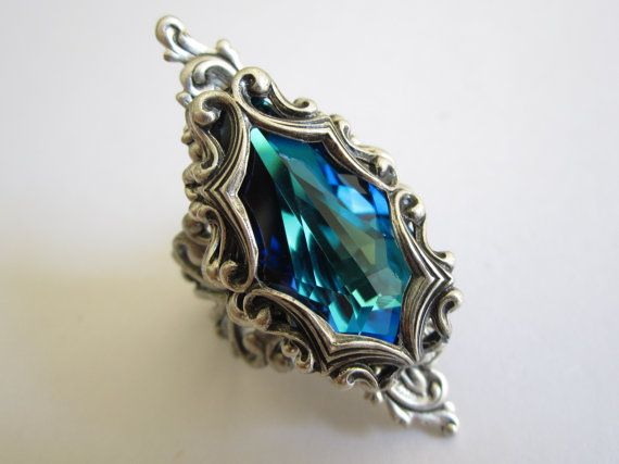 Brienne Swarovski ring Filigree ring Fantasy by DaedraJewelry