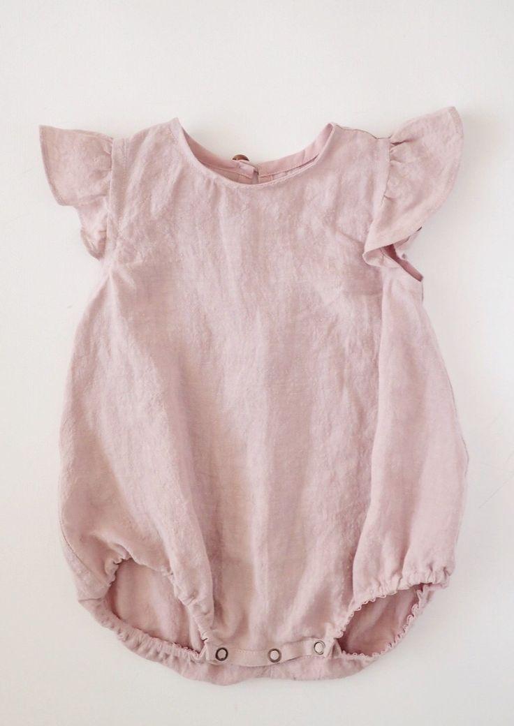 beb58ce08bed Beautiful Handmade Ash Pink Linen Baby Romper
