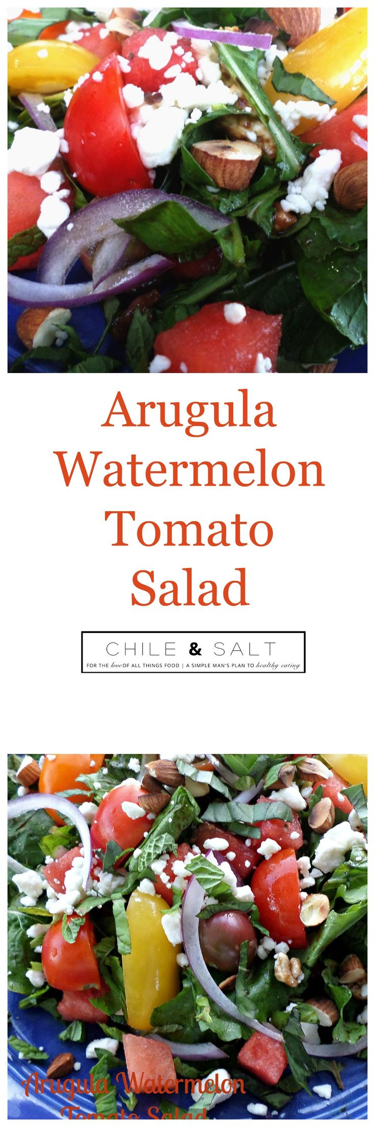 Arugula Watermelon & Tomato Salad,  accented with fresh mint & basil, crunch added with toasted almonds & all comes together with a balsamic glaze or reduction this is pretty perfect.