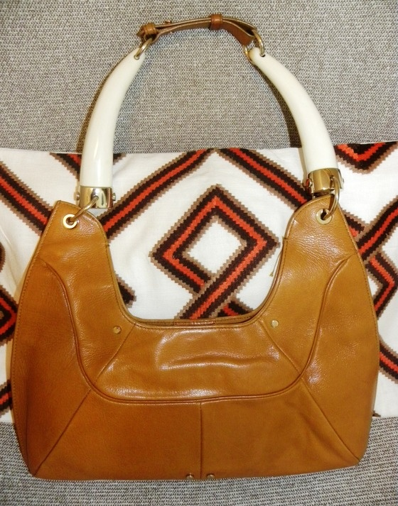 YVES SAINT LAURENT YSL tan leather handbag with twin white horn ...