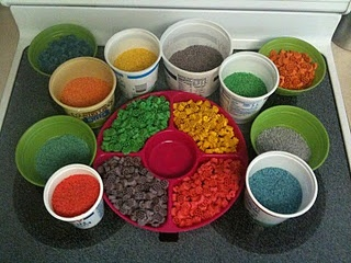 colored rice and noodles... this blog has some great ideas