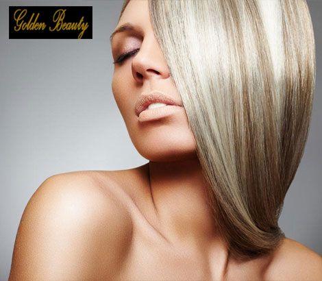 15€ από 45€ για Ολοκληρωμένο Πακέτο Περιποίησης Μαλλιών που περιλαμβάνει Βαφή σε όλο το μήκος μαλλιών, Λούσιμο, Κούρεμα και Χτένισμα ή 27€ από 55€ για Ανταύγειες, Λούσιμο, Κούρεμα και Χτένισμα, στο Golden Beauty στον Γέρακα. Έκπτωση 70%. εικόνα