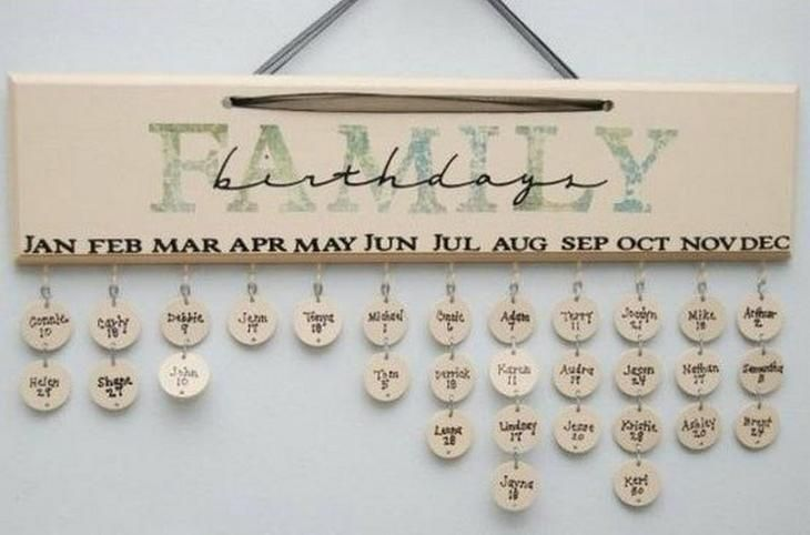2. Семейный календарь Дней Рождения родных и близких. Милая и стильная вещица - напоминалка