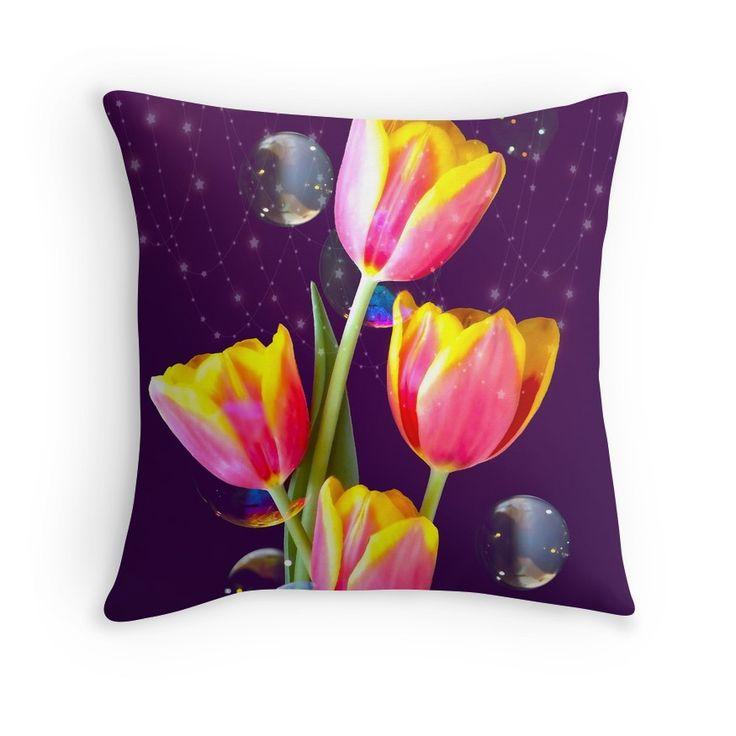 Tulips Stars And Bubbles... new #pillow #design! By Johanna Hurmerinta