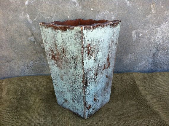 Trash Can Wooden Trash Can Shabby Chic Decor by TimelessNchic, $19.95 #homedecor #bathroom #wooden #trashcan #garagecan #box #primitive #country #rustic #farmhouse #shabby #french #chic #green #nursery