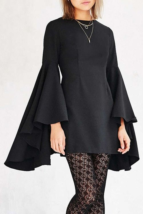 Long Bell Sleeves Round Collar Black Slimming Dress #ZAFUL #FASHION #STYLE