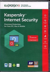 a new sealed retail package kaspersky internet security 3 devices 1 year