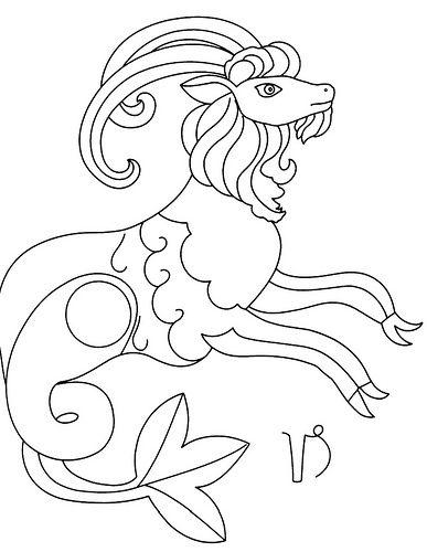 capricorn  zodiac  embroidery  coloring page