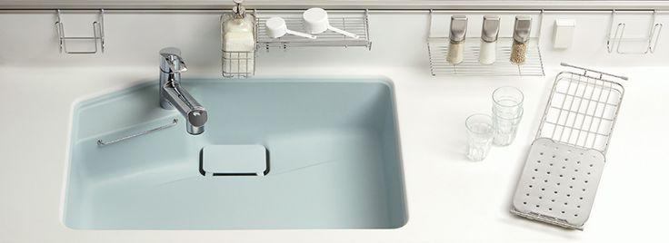 トクラスキッチン奥までシンク 洗い物でも スポンジや洗剤に汚れがかかりにくく衛生的です トクラス ベリー システムキッチン トクラス