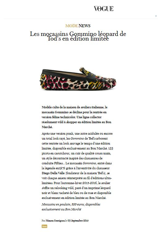 Les mocassins Gommino léopard de Tod's en édition limitée.   #Press #Pressbook #soulier #shoe #shoes #fashion