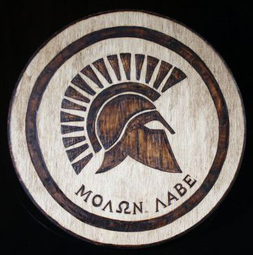 Molon Labe Wood Burning Pyrography Plaque