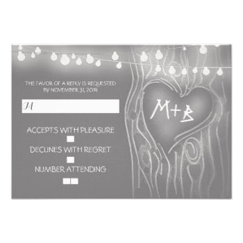 Night lights or string lights tree romantic wedding reply cards for your rustic outdoor wedding with slate grey design. #tree #rsvp #string #lights #rsvp #rustic #wedding #rsvp #love #tree #rsvp #wedding #response #outdoor #wedding #rsvp #grey #gray #slate #grey #rsvp #silver #grey