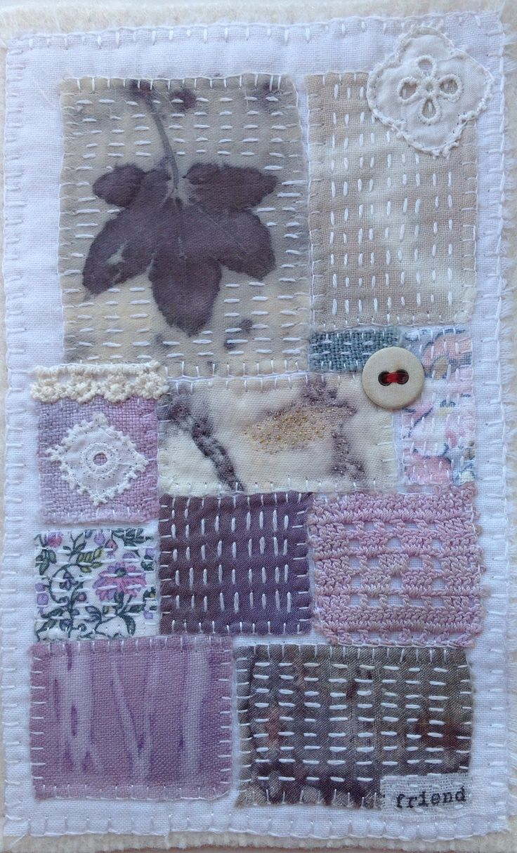 Collage by Marilyn Stephens. Eco prints, found vintage fabrics, hand stitched.