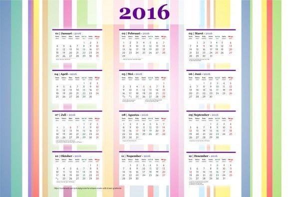 Calendar 2016 - Free Download Vector PDF JPG - Design_31_Pinstripe