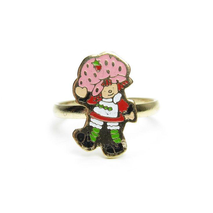 Strawberry Shortcake enamel children's ring on gold band