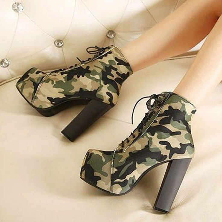 Hot Women Camo Platform High Heels Ankle Boots Lace Up Shoes Combat Army Boots#   Clothing, Shoes & Accessories, Women's Shoes, Boots   eBay!