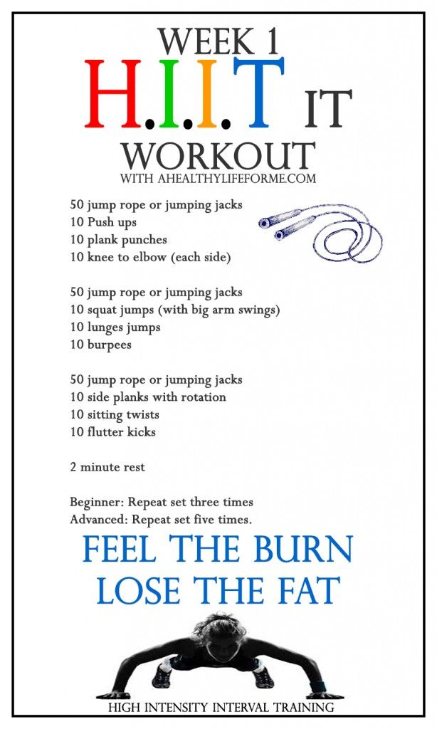 HIIT Workout Week 1 - A Healthy Life For Me (follow link for video with each exercise)