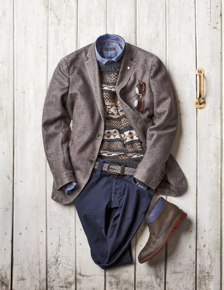 Washed Wool Jacket: Lubiam ($898) - made in italy Hand Knit Sweater: Muskoka Dry Goods ($495) - made in italy Washed Cotton Shirt: Corneliani ($278) - made in italy Braided Suede and Wool Belt: Anderson's ($155) - made in italy Mini Corduroy Pants: Nudie Jeans Co. ($199) - made in italy Two Tone Leather Desert Boot: Cole Haan ($255) - made in india Bi-Focal Sun Glasses: Eye Bobs ($75) - made in china  http://www.blazerformen.com/