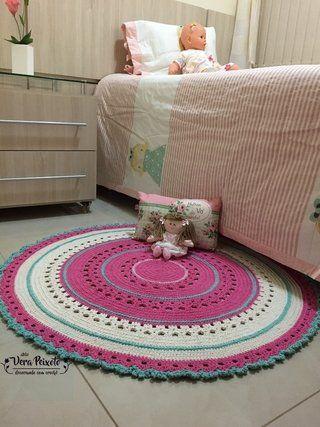 Tapete de crochê redondo rosa , creme e verde água - Bebê Gabriela - comprar online