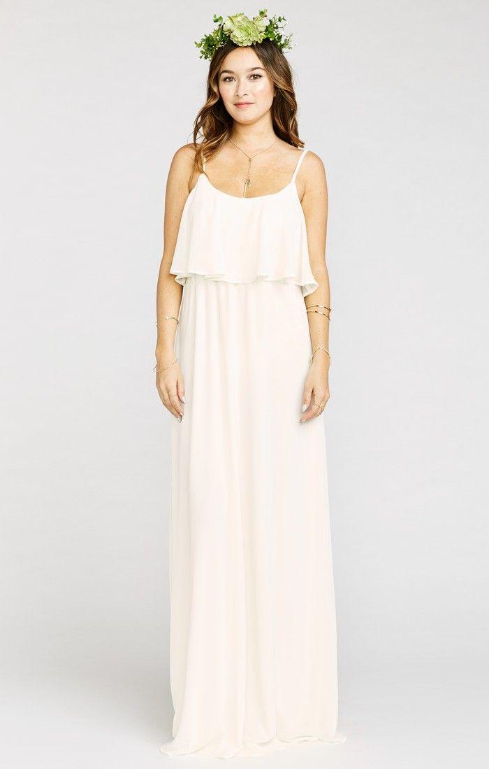Caitlin Ruffle Maxi Dress ~Wedding Cake Chiffon | Show Me Your MuMu