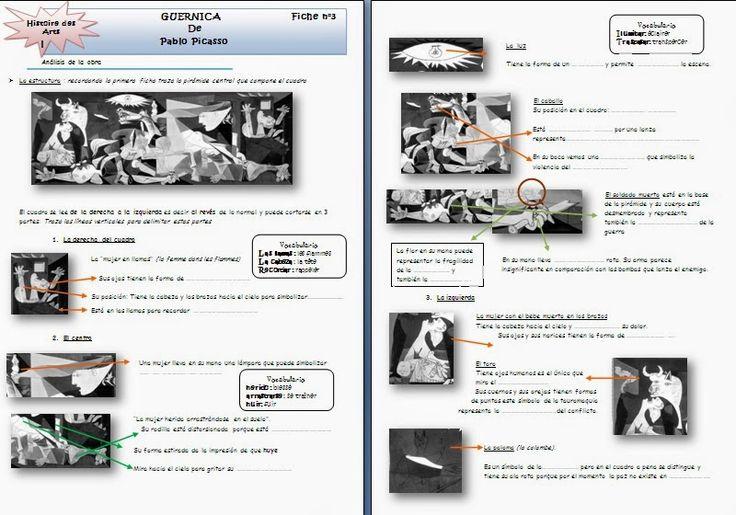 Emmanuelle nous envoie 3 belles fiches de travail sur Guernica.    Fiches 1 et 2 :      Fiche 3 (analyse) :        Merci beaucoup Emmanuell...