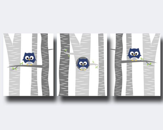 Baby Boy Owl Nursery Wall Art Print, Baby Boy Owls in a Tree, Suits Navy and Grey Nursery, Baby Boy Nursery Decor- N1238,1239,1240