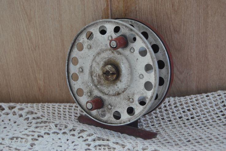 Vintage fishing reel inertial SCR-100. Vintage. Soviet Fishing reel. Made in USSR. by VintageParsel on Etsy