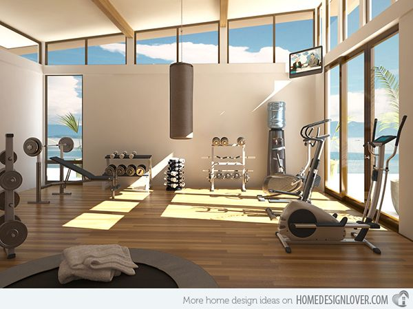windows, wood, white walls, free weights, bag, treadmill, and plants