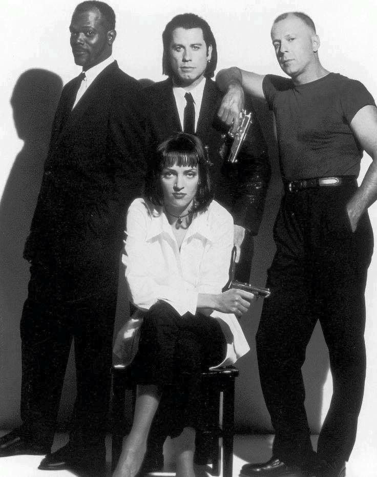 Samuel Jackson, John Travolt, Bruce Willis & Um Thurman