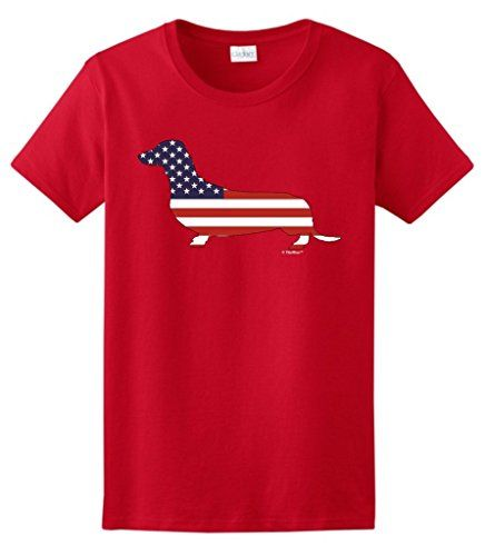 Patriotic Dachshund Doxin Weiner Dog American Flag Ladies TShirt 2XL Red >>> You can get additional details at the image link.